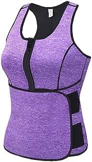 Sekluxy Waist Trainer Sweat Vest for Women Corset Zipper Body Shaper Waist Cincher Belt