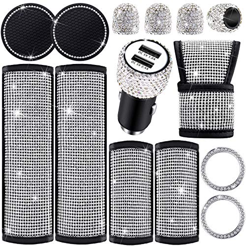 Frienda 14 Pieces Bling Car Accessories Set, Bling Seat Belt Cover, Bling Door Handle Cover, Bling Car Shift Gear Cover, USB Car Charger, Cup Holder Coasters, Start Button Rings and Valve Stem Caps