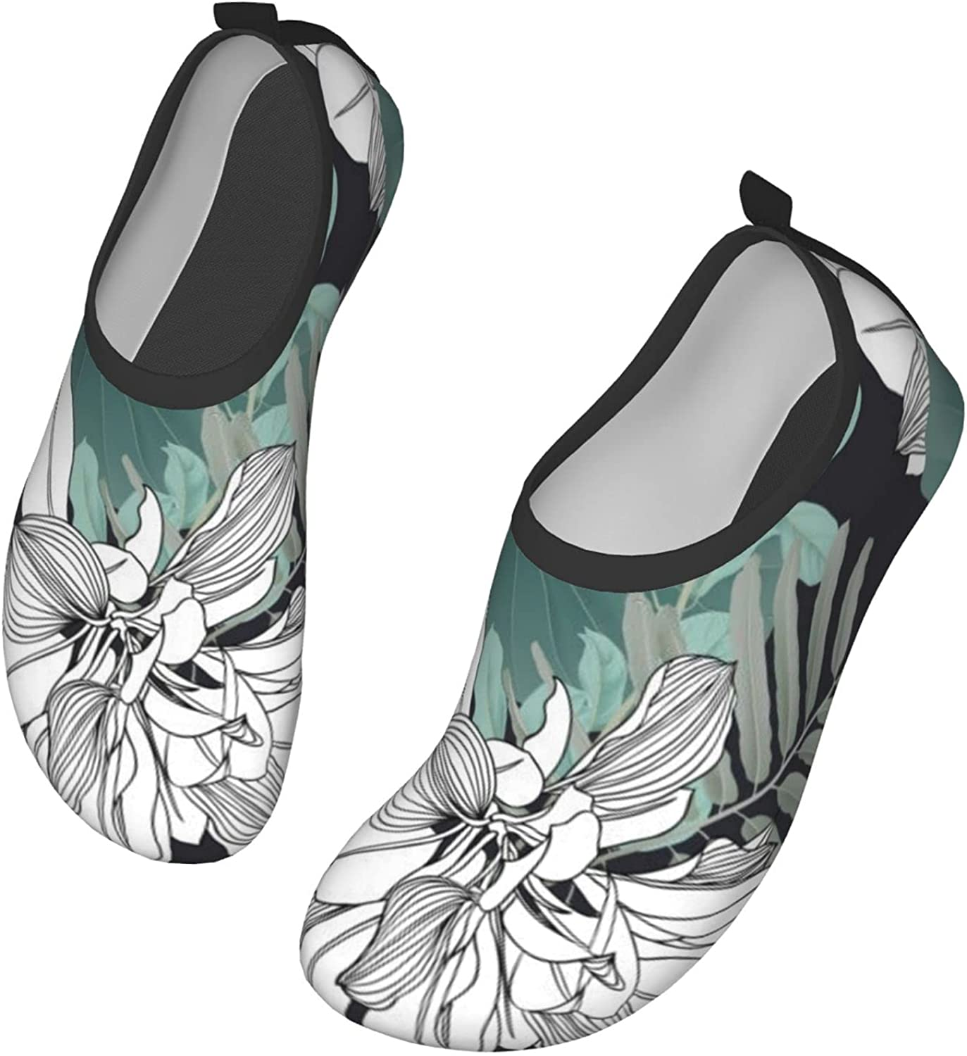 Botanical Green Leaves and Lotus Leaves Water Shoes for Womens and Mens Summer Barefoot Shoes Quick Dry Aqua Socks for Beach Swim Yoga Exercise