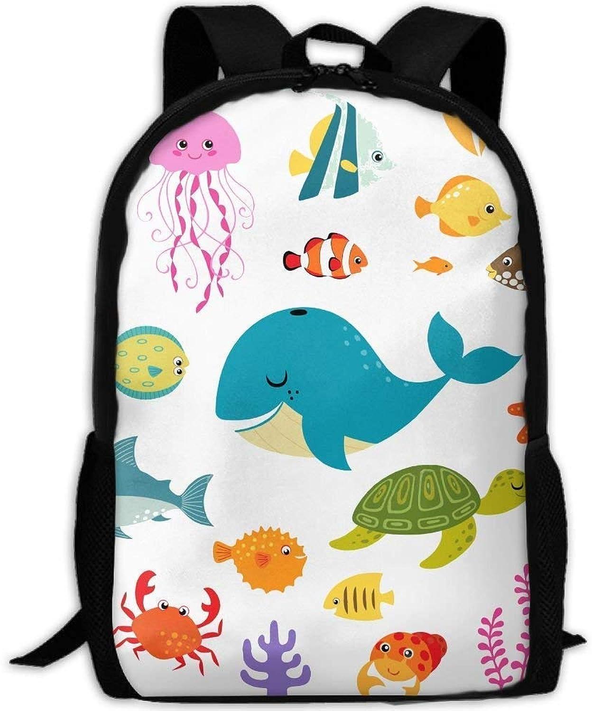 Backpack Adult Ocean Life Whale Turtle Unique Shoulders Bag Daypacks