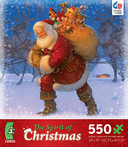 The Spirit of Christmas Puzzle - 550 Pieces - 'Bag of Gifts' By Scott Gustafson