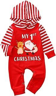 Ambabe Newborn Baby Boy Girl My Christmas Outfit Stripe Long Sleeve Santa Deer Hoodie Jumpsuit Romper Xmas Pajamas Clothes