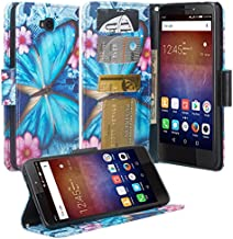 Huawei Ascend XT 2 Case, Huawei Elate 4G LTE Case, Wrist Strap Flip [Kickstand] PU Leather Wallet Case Cover with ID &Credit Card Slots for Huawei Ascend XT2 H1711 - Blue Butterfly