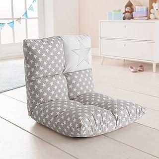 howa - 2 en 1 Fauteuil pour enfant + Canapé pour enfant – dossier réglable à 6 positions gris / blanc 8602