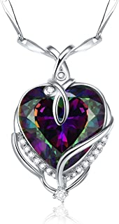 925 Sterling Silver Created Mystic Fire Rainbow Topaz Heart Necklace for Women Jewelry Gifts for Wife