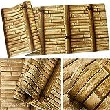 YACAS Papel Pintado De Estilo Chino Fondo De Bambú Vintage Fondo De Pantalla Decoración del Hogar Salón 3D Salón De Té Restaurante PVC Rollo De Papel Pintado 5.3M2 Amarillo