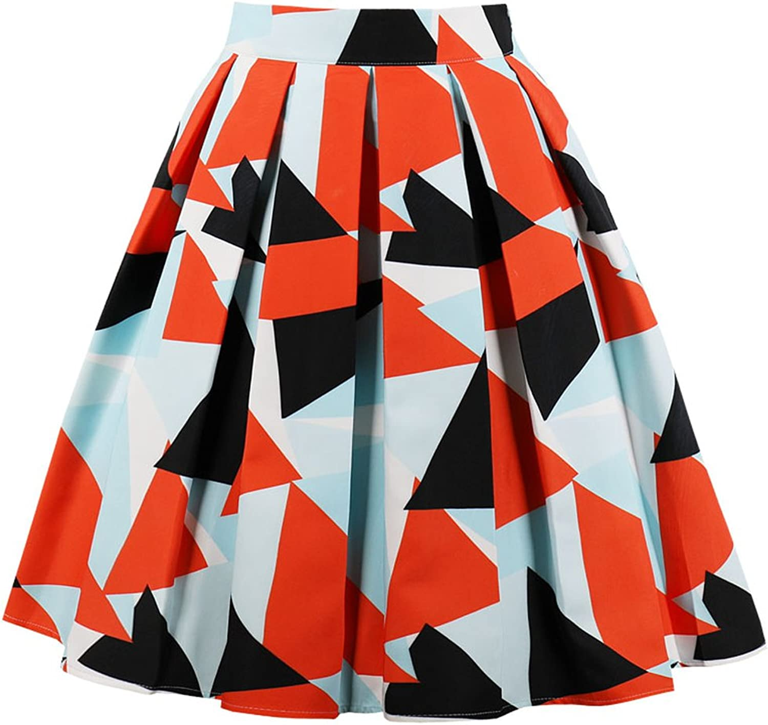 Women A-Line Skirts Casual Colorblock Midi Vintage Skirt