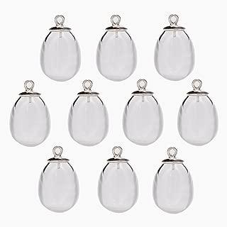10 Pieces Tear Drop Waterdrop Empty Glass Beads Hollow Glass Ball Glass vials Pendant (925silver Cap, 14x11mm)
