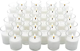 Royal Imports Votive Candles Bulk Set of 72 with White Candles Wax Filled in Clear Glass Holders, Unscented, Ideal for Res...
