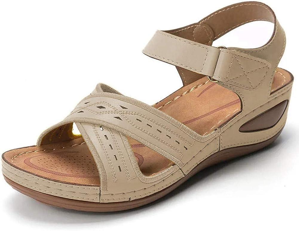 Vimisaoi Womens Flat Sandals, Comfy Ankle Strap Hook and Loop Athletic Platform Wedge Sandals Walking Shoes