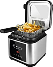 Deep fryer, Electric Fryer with Basket, Oil Thermostat, 2.5L Oil Capacity Deep Fat Fryers with Timer, Removable Lid with V...