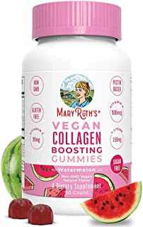 Vegan Collagen Boosting Gummies for Hair Skin & Nail Health by MaryRuth's - Plant Based Supplement w/ Lysin...