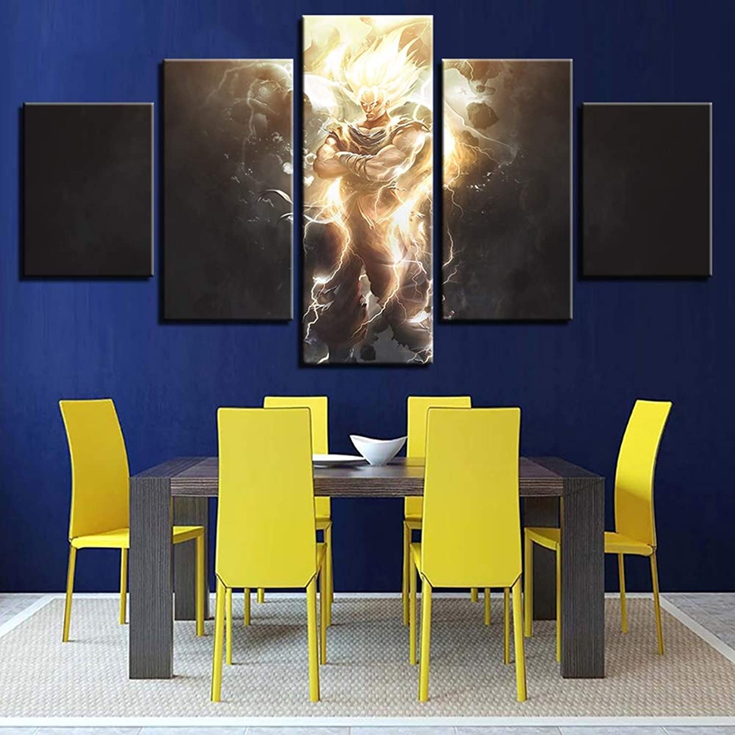 Canvas 5 Pieces Dragon Ball Pictures Wall Art HD Printed Anime Super Saiyan Paintings Poster for Living Room Home Decor,B,10X15X210X20X210X25X1