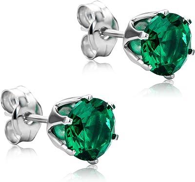 Orovi Orecchini da donna in oro bianco 9 carati / 375 con solitario smeraldo / zaffiro / rubino/zirconia cubica