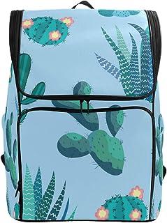 FANTAZIO - Mochila para ordenador portátil con diseño de flores de cactus, para senderismo, camping, casual, grande, para la escuela,