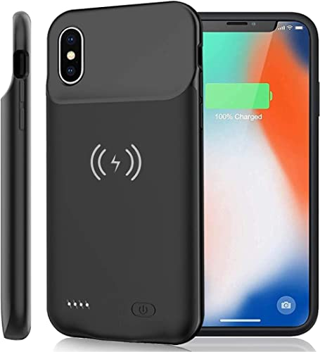 iPhone X Xs 10 Battery Case Qi Wireless Charging Compatible, 7000mAh Slim Extended Rechargeable External Charger Case...