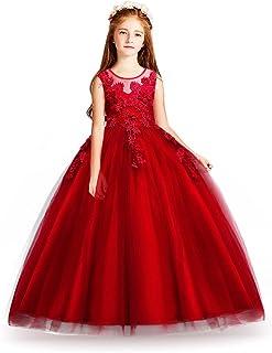 ad51d524be6 HUAANIUE Cérémonie Robe de Soirée Princesse Classique Fille Mariage Robes  Demoiselle d Honneur Taille Motif