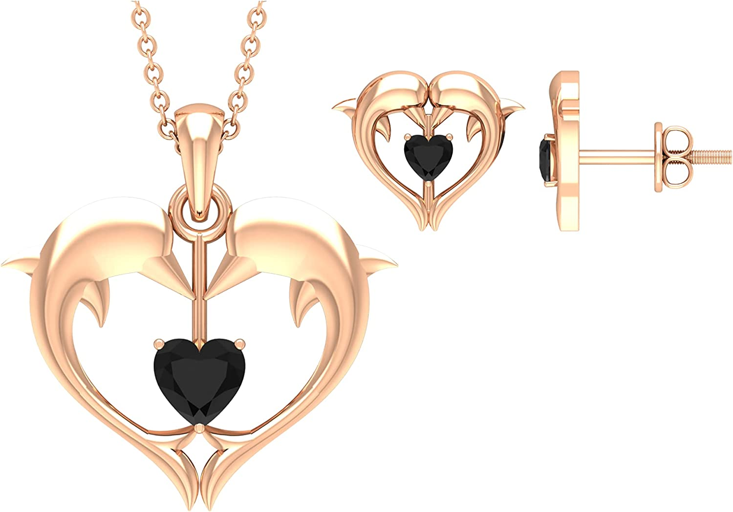 Dolphin Jewelry Limited Online limited product time sale Set For Women Earring Necklace Heart 14 and