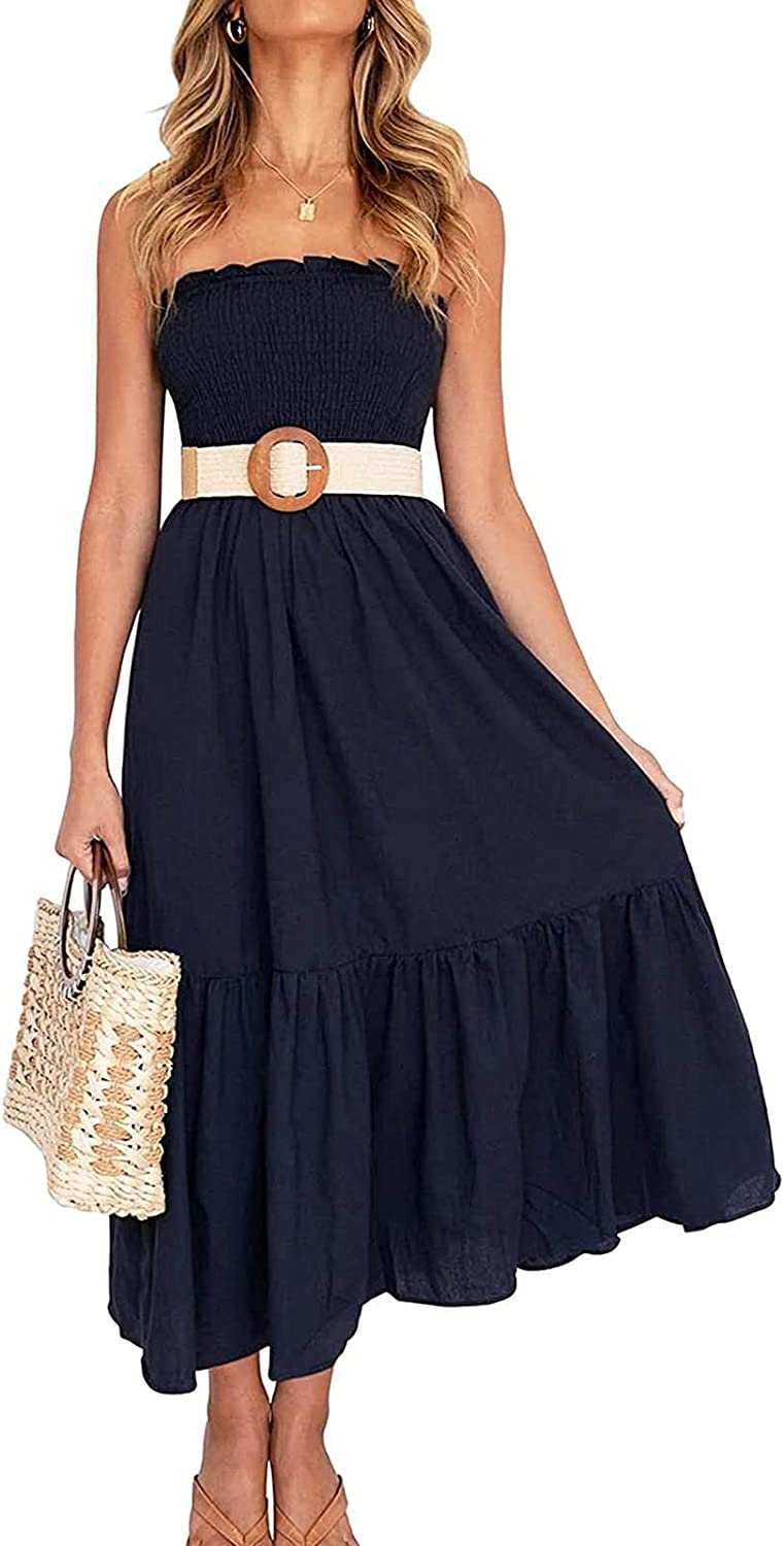 Strapless Maxi Dress for Women Summer Boho Beach Floral Smocked Flowing Midi Dress Casual Style