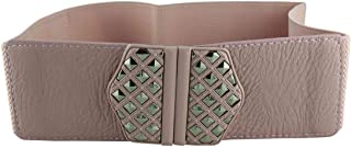 CHOCOLATE PICKLE New Ladies Studded Pu Leather Buckle Wide Elasticated Cinch Belts One Size
