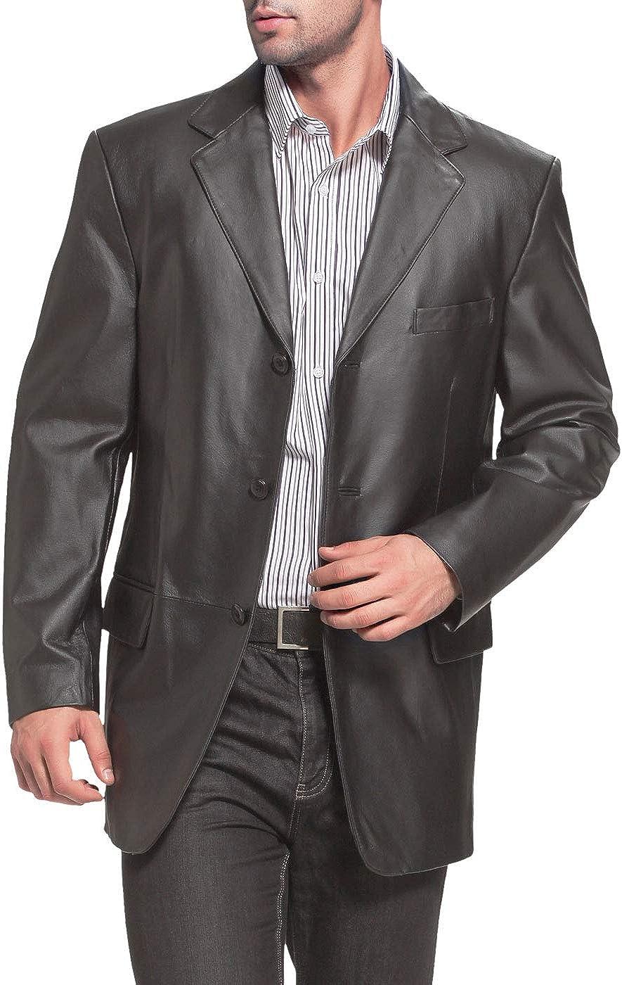 BGSD Men's Liam 3-Button Leather Lambskin Jack Dedication Sport Excellence Blazer Coat