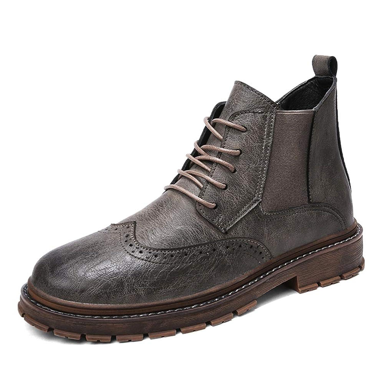 Shoes アンクルブーツ男性カジュアル個性ステッチレースアップ彫ブローグファッションシューズ耐久性のあるマイクロファイバーアッパー Comfortable (Color : グレー, サイズ : 26 CM)