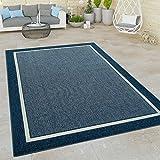 Paco Home In- & Outdoor Teppich, Terrasse u. Balkon, Skandinavischer Stil, Grösse:120x170 cm, Farbe:Blau