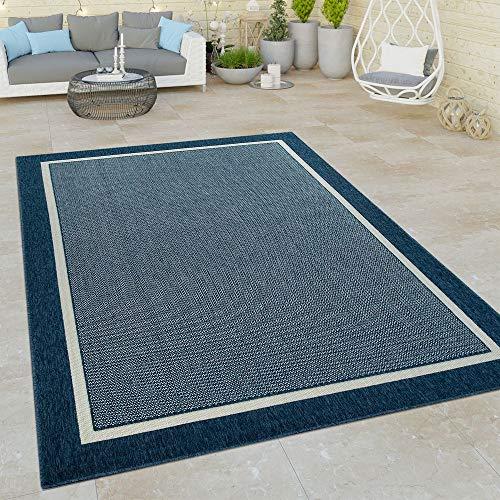 Paco Home In- & Outdoor Teppich, Terrasse u. Balkon, Skandinavischer Stil, Grösse:160x230 cm, Farbe:Blau
