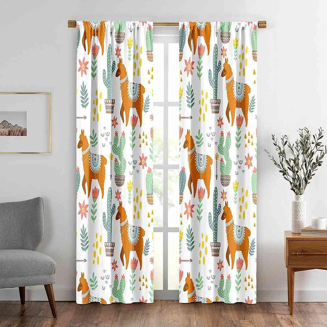 Animals Albuquerque Mall Window Drapes Curtain 2 Max 48% OFF Llama Cactus Panels Cute Alpaca