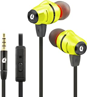 ALTEAM AH-K97M Hires Wired Hybrid Mic Earphone, Dynamic 10mm Plus Balance Armature Driver, Tangle Free Noodle Cable, For Iphone Samsung Xiaomi Sony LG Ios Android Apple Mac Tablet PC Computer - Yellow