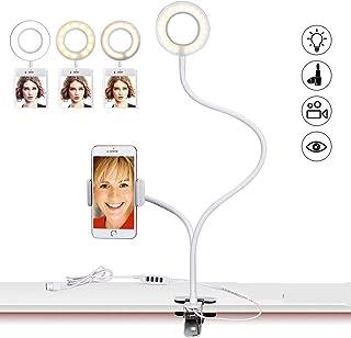 Sokani LEDリングライト自撮りリングライトデスクランプクリップVlog Youtube Tiktok 用 ビデオライトiPhone 7 6 Plus Samsung Huawei に対応 10階段調光(携帯電話の幅の範囲をサポート:2....