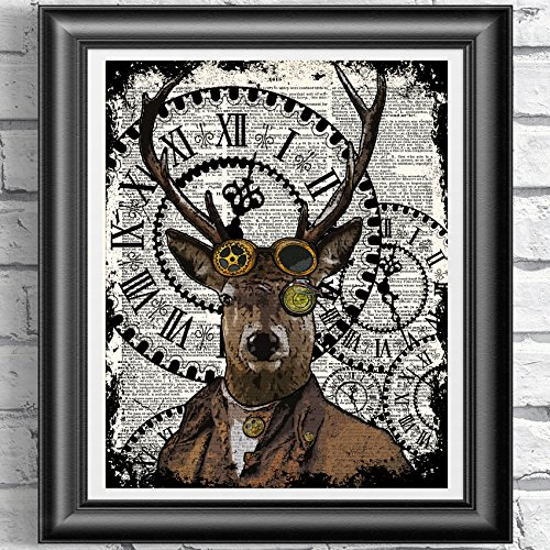 Deer Stag art print, Poster Print on Antique Dictionary book page, wall decor, Home decor, unique gift, wall hangings steampunk buy now online