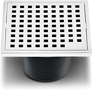 QM Square Shower Drain, Grate made of Stainless Steel Marine 316 and Base made of ABS, Lagos Series Mira Line, 4 inch, Polished Finish, Kit includes Hair Trap/Strainer and Key