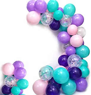 Mermaid Balloons Pack of 100,Purple Pink Turquoise Latex Balloons with Confetti Balloon for Mermaid Party Decorations Birthday Party Supplies