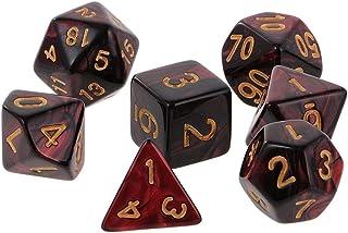 ダイス サイコロ セット 7種 二色多面体ダイス 多面体 赤 黒 不透明