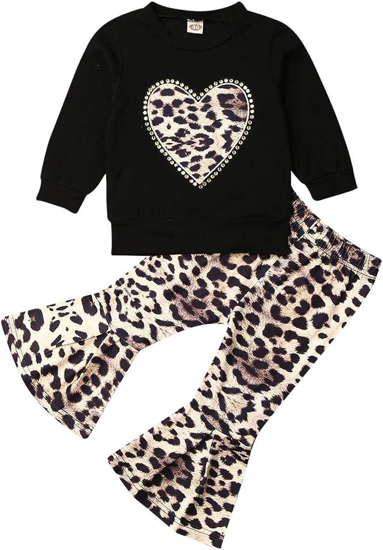 VISGOGO Toddler Baby Kid Girl Outfit Long Sleeve T-Shirt Top+Leo