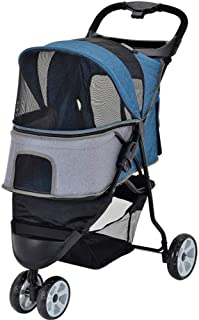 Pet stroller Pet Stroller,Collapsible Pet Stroller,Three-Wheeled Pet Stroller,Pet Supplies, for Small and Medium Pets (Color : Blue)
