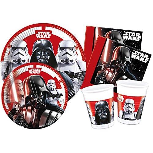 Ciao-Kit Party Tavola Star Wars Final Battle persone (112 pezzi Ø23cm, piatti Ø20cm, 24 bicchieri plastica 200ml, 40 tovaglioli carta 33x33cm), Multicolore, Y4491