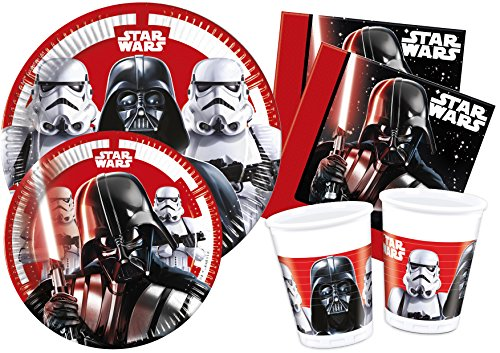 Ciao Y4492 Kit Tavola Star Wars Final Battle Party Table Set, Red, White, Black, 8 Personen