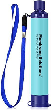 Membrane Solutions Straw Water Filter, Survival Filtration Portable Gear, Emergency Preparedness, Supply for Drinking Hiking Camping Travel Hunting Fishing Team Family Outing