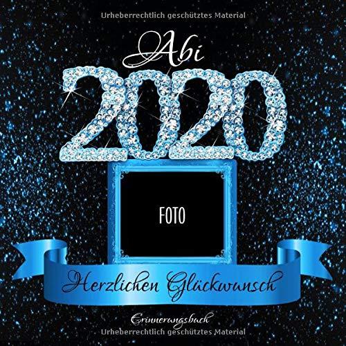 Abi 2020: Personalisiertes Gästebuch I Festliches Schwarz Blau Diamant Cover mit Fotorahmen I...