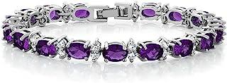 Gem Stone King 20.00 Ct Oval & Round Purple Color Cubic Zirconias CZ Women's Tennis Bracelet 7 Inch