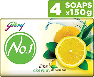 Godrej No.1 Bathing Soap - Lime & Aloe Vera, 150g (Pack of 4)