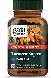 Gaia Herbs Turmeric Supreme Pain P.M., Turmeric Curcumin Supplement, Promotes Relaxing Sleep & Healthy Pain Response, Kava...