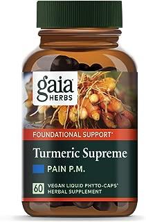 Gaia Herbs Turmeric Supreme Pain P.M., Turmeric Curcumin Supplement, Promotes Relaxing Sleep & Healthy Pain Response, Kava & Valerian, Vegan Liquid Capsules, 60 Count