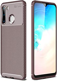 Beovtk Galaxy A21 Case, Silicone Leather[Slim Thin] Flexible TPU Protective Case Shock Absorption Carbon Fiber Cover for S...