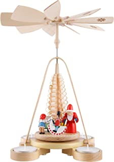 Richard Glässer Seiffen German Christmas Pyramid Santa Giving Out X-mas Presents, Height 28 cm / 11 inch, Natural with tea...