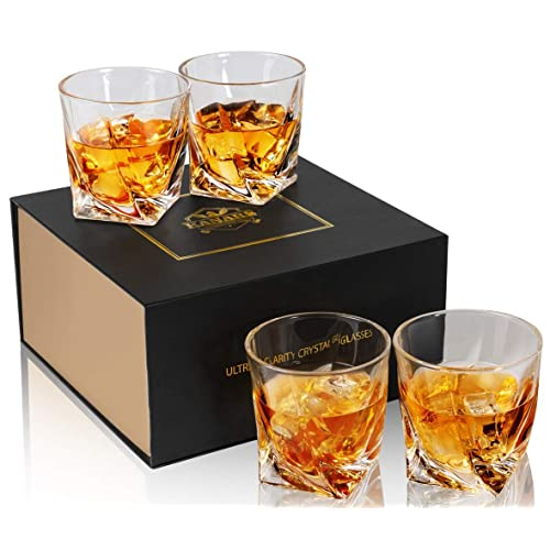 KANARS Rocks Glasses, Whiskey Glass Tumblers Set Of 4 - Premium Lead Free Crystal - Large 10 Oz Old Fashioned Cocktail Glass For Scotch, Bourbon Or Whisky - Luxury Gift Box for Men And Women