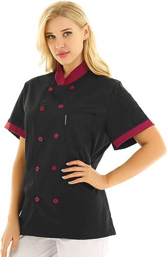 IEFIEL Camisa de Cocinero Camiseta Manga Corta Cuello Mandarín Unisexo para Hombre Mujer Chaqueta Chef con Botónes Uniforme de Cocina Hotel ...