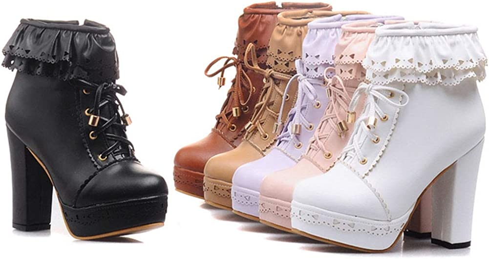 Vimisaoi Platform Finally popular brand Boots for Women Cute Lolita OFFicial store Chunk Zip Up Lace